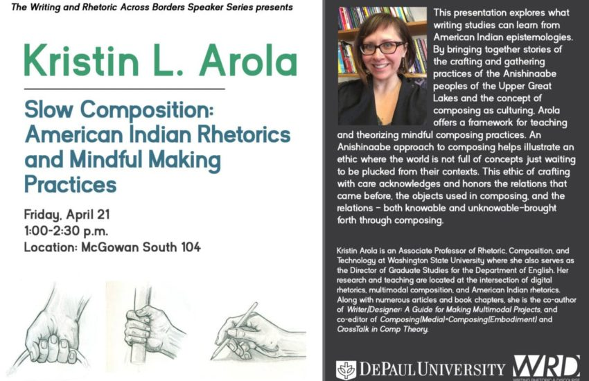 Flyer for Kristin Arola talk